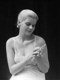 1930s Blond Woman Wearing Slip Negligee Holding Bar Soap Photographic Print