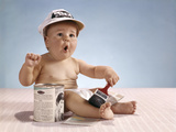 1960s Baby with Funny Facial Expression Wearing Painters Cap Holding Paintbrush Sitting Photographic Print