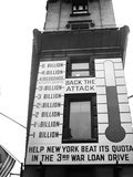 Ew York City Times Square Thermometer Sign Showing Results of War Loan Drive Photographic Print by C.P. Cushing