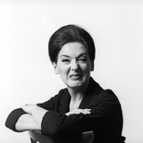 1960s-1970s Brunette Middle Aged Woman Making Funny Face with Wrinkled Nose and Arms Folded Photographic Print