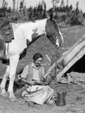 1920s-1930s Woman Sitting Outside of Tent Next to Pinto Horse Pouring Syrup from Tin onto Pancakes Photographic Print