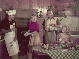 1950s 2 Couples Cooking Picnic in Rustic Kitchen Drinking Beer Photographic Print