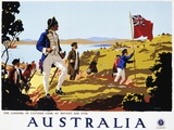 Poster for Australia Showing the Landing of Captain Cook at Botany Bay in 1770 Photographic Print