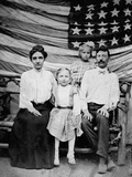 Family Pose in Front of American Flag, Ca. 1898 Photographic Print