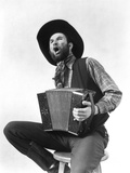 1930s Cowboy Playing Accordion and Singing Photographic Print