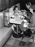 1950s Family Eating Ice Cream at a Diner Photographic Print