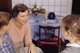 Mother Talking with Children before Dinner Photographic Print by William Gottlieb