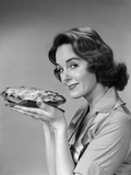 1950s-1960s Woman Smiling Holding Freshly Baked Pie Photographic Print
