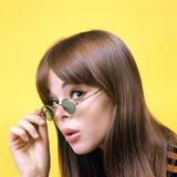 1960s Portrait Young Brunette Woman Wear Granny Sunglasses Photographic Print