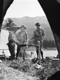1930s Campsite Bow Lake Alberta Canada 2 Men 1 Woman Standing around Campfire Photographic Print