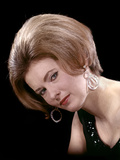 1960s Portrait Serious Woman Black Sequin Evening Diamond Earrings Dress Bouffant Hairstyle Photographic Print