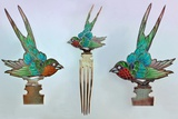 British Arts and Crafts Hair Combs with Swallows Photographie