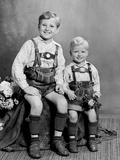 Two Brothers Pose for a Childhood Portrait in Germany, Ca. 1949 Photographic Print