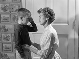 1960s Sad Crying Boy Rubbing His Eyes Is Comforted or Disciplined by His Caring Mother Photographic Print