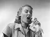 1950s Woman Sneezing Coughing into Handkerchief Photographic Print
