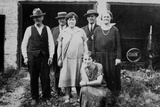 Family Standing in Front of Garage, Ca. 1925 Photographic Print