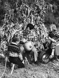 1950s Boy and Girl Sitting in Front of Corn Stalks Watching Father Carve Pumpkin Photographic Print