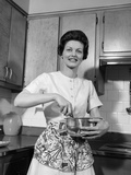 1960s Woman Kitchen Housewife Stir Photographic Print