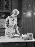 1930s Woman in Kitchen Making Strawberry Shortcake Photographic Print