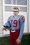 Fifteen Year Old High School Football Player Portrait Outside the School, Ca. 1961 Fotodruck