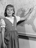 1960s School Girl Pointing to Map of the Usa Photographic Print
