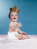1960s Smiling Baby Wearing Crown Photographic Print