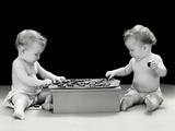 1930s-1940s Twin Babies Playing Game of Checkers Together Studio Photographic Print