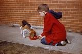 Boy Feeding Dog on Sidewalk Photographic Print by William Gottlieb