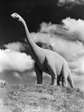 1950s Statue of Large Extinct Gigantic Brontosaurus on Hilltop Jurassic Tourist Attraction Photographic Print