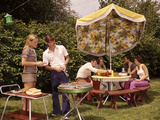 1970s Group Teenagers Boys Girls Backyard Grilling Table Umbrella Photographic Print