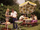 1970s Group Teenagers Boys Girls Backyard Grilling Table Umbrella Photographic Print