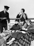 1920s-1930s Three Women Being Served Tea by a Steward on Board an Ocean Liner Photographie