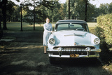 1955 Woman Standing Beside 1954 Mercury Automobile Photographic Print by G. Knapp