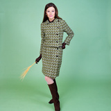 1960s Young Woman Modeling Green Wool Knit Two Piece Suit Photographic Print