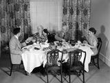 1950s Three Generation Family Dinner Photographic Print