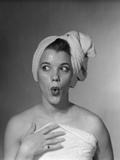 1950s Woman Making Funny Face Expression Wearing Towel on Head Looking Off to the Side Photographic Print