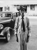 Portrait of Old Man Wearing Hat Glasses Tie and Suspenders Car in Background Photographic Print by C.P. Cushing