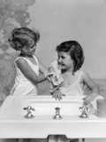 1930s Two Girls Sisters at Bathroom Sink Stampa fotografica