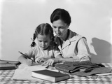 1960s Child Girl Doing Homework with Parent Mother Photographic Print