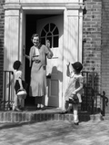 1930s Children Boy and Girl Waving Goodbye to Woman Mother Photographic Print