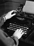 1930s Woman's Hands Typing Business Letter at Manual Typewriter Photographic Print