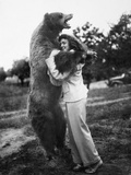Woman Embraces a Stuffed Bear, Ca. 1940 Photographic Print