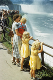 Mother and Children Looking at Niagara Falls New York Photographic Print by G. Knapp