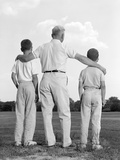 1960s Back View Grandfather with Two Grandsons Boys Photographic Print