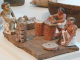 Egyptian Kitchen Model of Workers Grinding, Baking and Brewing Photographic Print