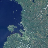 Satellite Image of Oulu, Finland Photographic Print