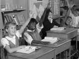 1960s Group of School Children with Raised Hands Photographic Print
