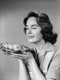 1950s-1960s Woman Smelling Aroma of Freshly Baked Pie Photographic Print