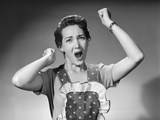 1950s Woman in Apron Ruffled Edge Fists Up in Air Yelling Screaming Angry Housewife Photographic Print