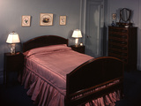 1930s-1940s Bedroom Double Bed with Pink Satin Bedspread Photographic Print by Ewing Galloway